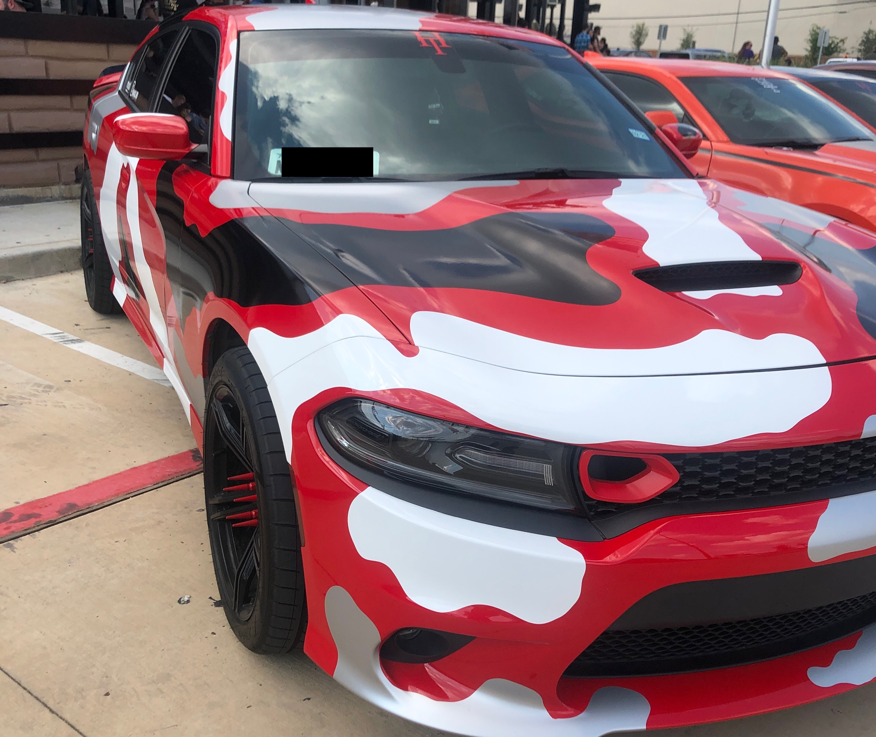 Black and Red Charger Vinyl Wrapped